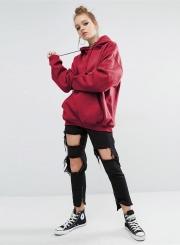 Women's Solid Loose Fit Kangaroo Pocket Pullover Hoodie