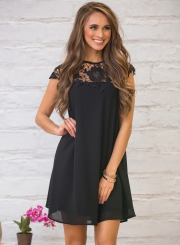 Women's Cap Sleeve Round Neck Lace Panel Dress