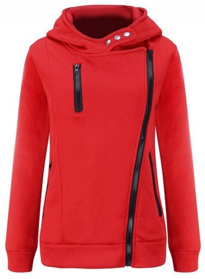 Women's Casual Long Sleeve Zipper Solid Hoddies STYLESIMO.com