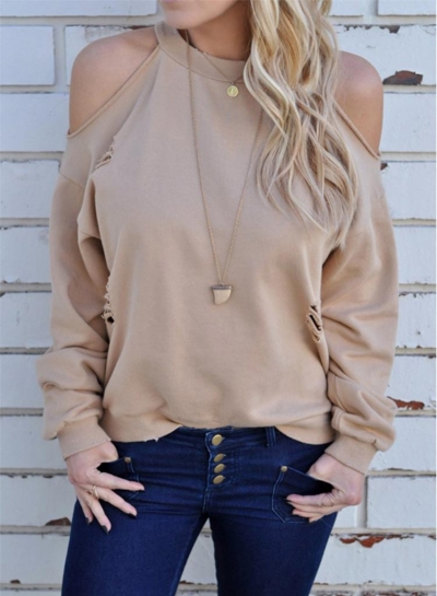 Women's off Shoulder Long Sleeve Backless Tee