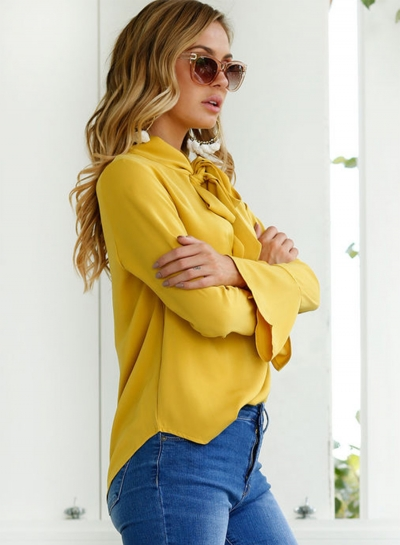 d744a19cdd9e79 Women's Fashion Solid TIe Collar Long Sleeve Pullover Blouse stylesimo.com
