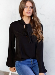 Women's Fashion Solid TIe Collar Long Sleeve Pullover Blouse