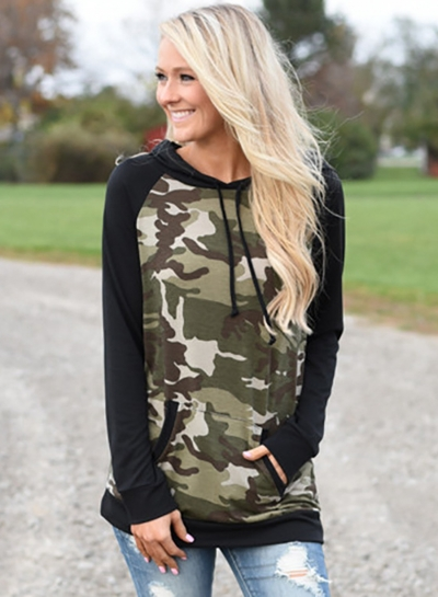 f795ce36ef6df Women s Casual Long Sleeve Camouflage Printed Hoodies