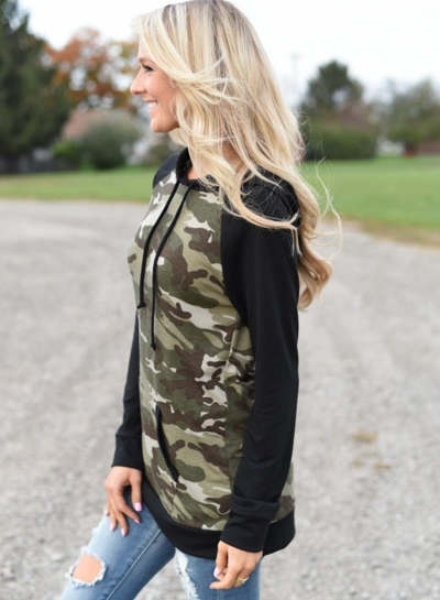 Women's Casual Long Sleeve Camouflage Printed Hoodies stylesimo.com