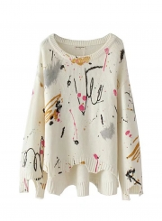 Women's Painted Print Round Neck Long Sleeve Sweater