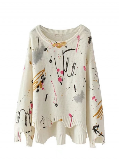 Women's Painted Print Round Neck Long Sleeve Sweater STYLESIMO.com
