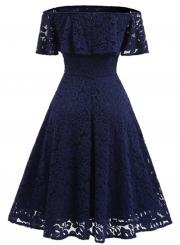 Women's Elegant off Shoulder Short Sleeve Lace A-line Party Dress