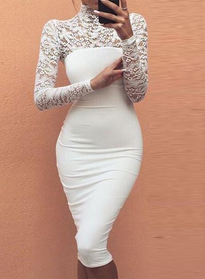 c3a9da69368fe8 Women's Fashion Mock Neck Long Sleeve Lace Bodycon Dress - STYLESIMO.com