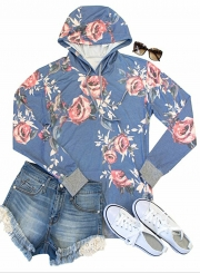 Women's Fashion Floral Long Sleeve Pullover Hoodie with Pocket
