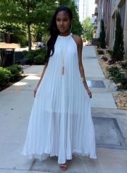 Women's Solid Color Off Shoulder Pleated Maxi Dress