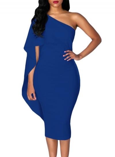 Women's Fashion Batwing Sleeve One Shoulder Sheath Dress