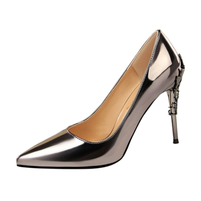 Women's Pointed Toe Metal Flower High Heels Pumps