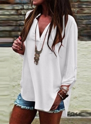 Women's Fashion V Neck Long Sleeve High Low Solid Loose Blouse