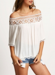 Women's Casual off Shoulder Half Sleeve Lace Panel Blouse