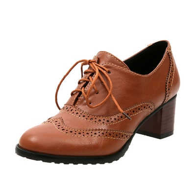 Women's Hollow out Lace up Block Heels Brogue Shoes