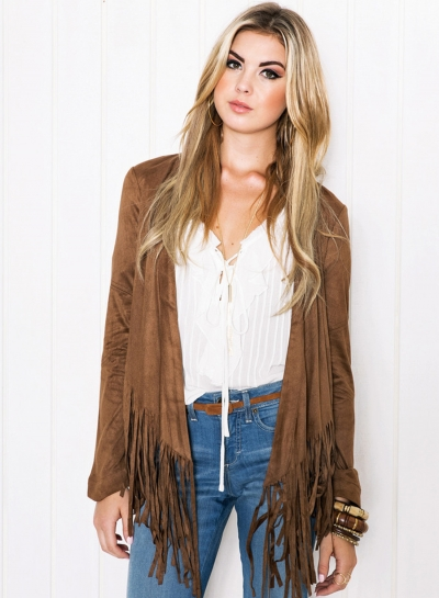 Women's Solid Open Front Long Sleeve Coat with Tassel