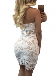 Women's Fashion Sleeveless Backless Lace Bodycon Mini Dress