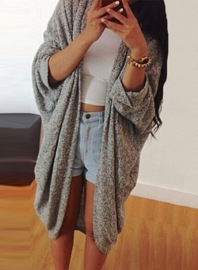 Women's Fashion Long Batwing Sleeve Open front Cardigan