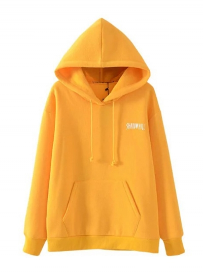 Women's Casual Letters Printed Long Sleeve Solid Hoodies STYLESIMO.com