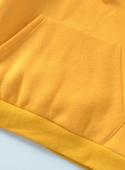 Women's Casual Letters Printed Long Sleeve Solid Hoodies