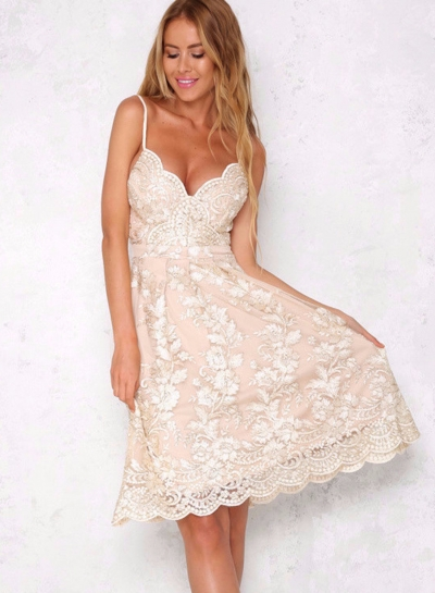 Women's Spaghetti Strap V Neck Hollow out Lace Dress