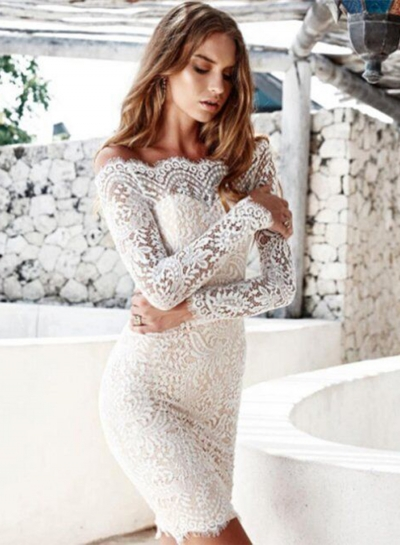 Women's Solid off Shoulder Long Sleeve Lace Bodycon Dress