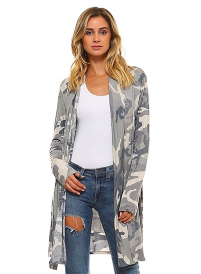 Women's Long Sleeve Camo Printed Open front Cardigan