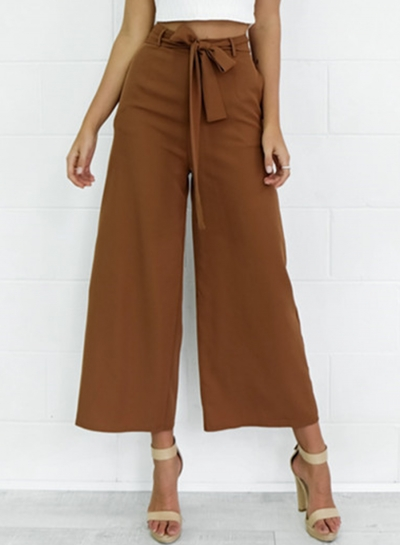 Women's Belt Decoration Solid Wide Leg Pants