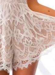 Women's Spaghetti Strap High Waist Lace Mini Dress