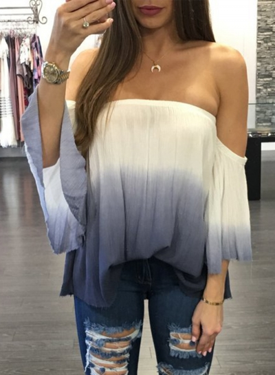 Women's Fashion off Shoulder Flare Sleeve Gradient Color Loose Blouse
