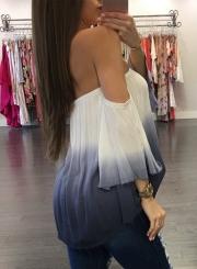 Women's Fashion off Shoulder Flare Sleeve Gradient Color Loose Blouse