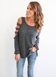 Women's Solid Cut out Long Sleeve Pullover Tee