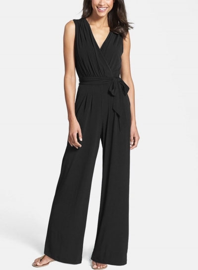 Women's Fashion Solid V Neck Sleeveless Wide-Leg Jumpsuit with Belt