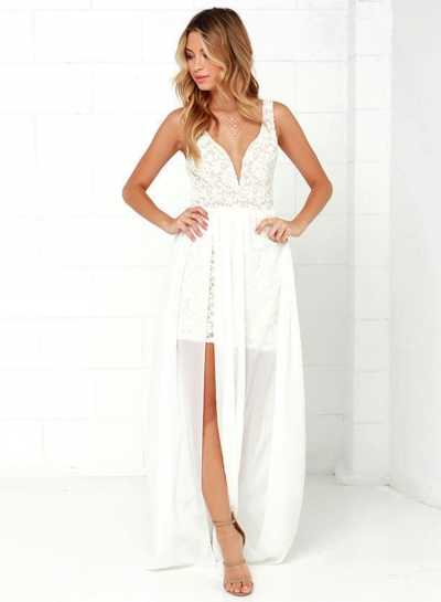 Women's Lace Panel Deep V Neck Sleeveless High Slit Dress