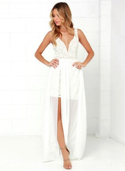 Women's Lace Panel Deep V Neck Sleeveless High Slit Dress