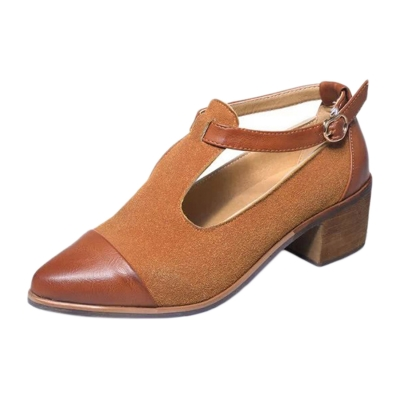 Women's Vintage Pointed Toe Block Heels Color Block Ankle Strap Shoes STYLESIMO.com