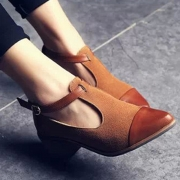 Women's Vintage Pointed Toe Block Heels Color Block Ankle Strap Shoes