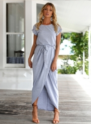 Short Sleeve High Slit Solid Maxi Dress with Belt