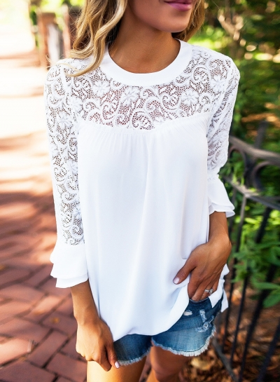 Women's Solid Color Lace Panel Round Neck Blouse