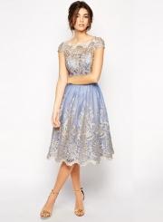 Women's Vintage Lace Net Yarn Embroidery Midi Dresses