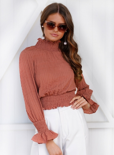 Solid High Neck Flare Sleeve Blouse