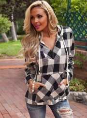 Fashion Long Sleeve Pullover Plaid Hoodie Shirt