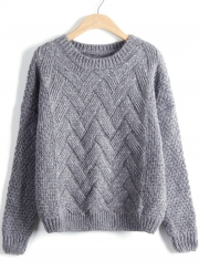 Casual Long Sleeve Chunky Knit Pullover Sweater