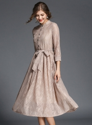 Elegant 3/4 Sleeve Lace Midi Dress with Belt
