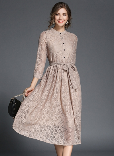 Elegant 3/4 Sleeve Lace Midi Dress with Belt stylesimo.com