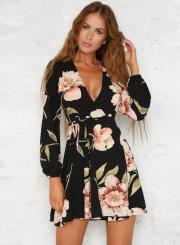 Fashion Deep V Neck Long Sleeve Floral Printed Mini Dress