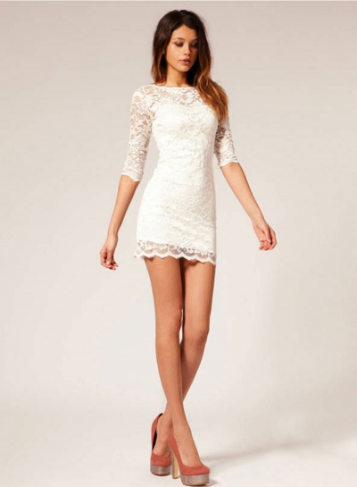 Solid 3/4 Sleeve Round Neck Lace Bodycon Dress