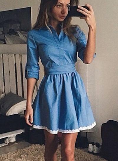 Turn-down Collar Half Sleeve Denim Dress