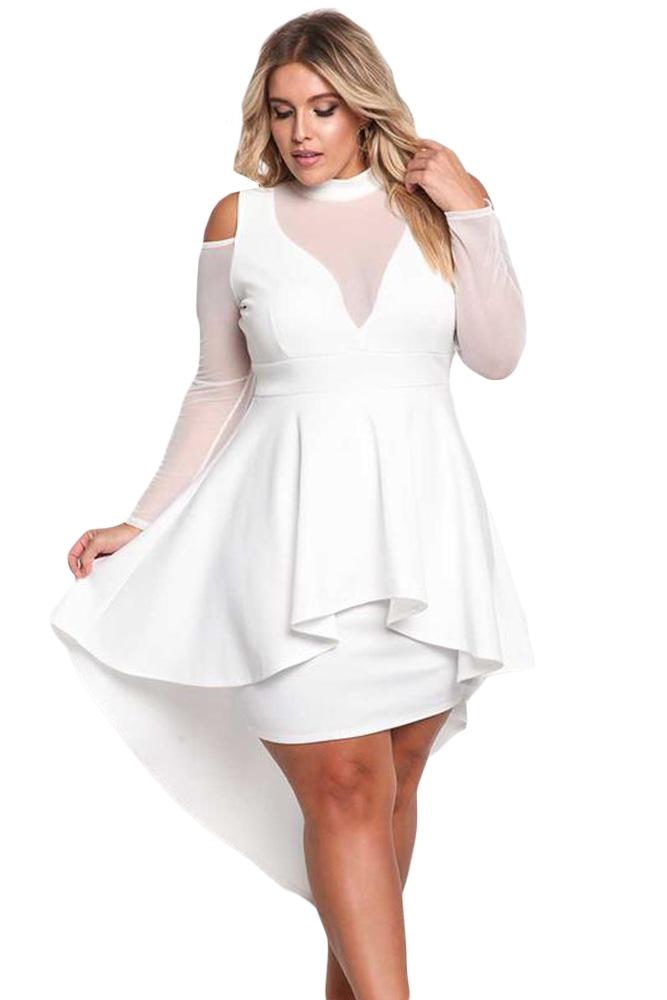 White Plus Size Mesh Trim Hi Lo Peplum Bodycon Dress Stylesimo