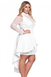 db403449545 White Plus Size Mesh Trim Hi-Lo Peplum Bodycon Dress - STYLESIMO.com